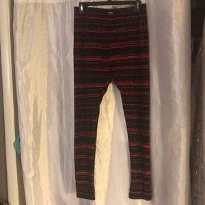 Leggings, Flannel Heart Design w/ Elastic Waist.